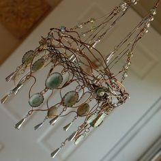 Your place to buy and sell all things handmade Wire Crafts, Diy And Crafts, Arts And Crafts, Wire Chandelier, Chandeliers, Funky Lighting, Woodland Decor, Rustic Crafts, Beaded Jewelry Patterns