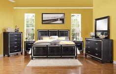 Acme 22790Q Elberte 4pcs Black Crocodile PU Queen Panel Bedroom Set