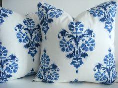 New-Duralee Indigo Ikat -Decorative Designer Pillow Cover-Indigo Blue Ikat Pillow Cover Ikat Pillows, Pillow Fabric, Pillow Cover Design, Pillow Covers, Ikat Pattern, Home Decor Fabric, Designer Pillow, Indigo Blue, Handmade