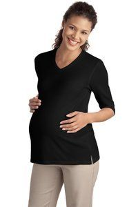 bfa6cf794fd91 Amazon.com: NEW Port Authority - Ladies Silk Touch Maternity 3/4-Sleeve  V-Neck Shirt. L561M: Clothing