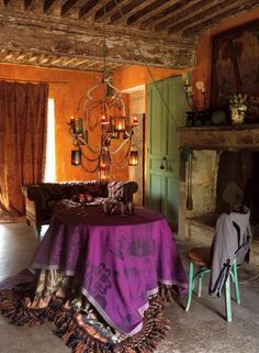 Aged boho living space with spicy mix of colors, cool chandelier, round table layered with fabrics-- boho inspiration Gypsy Decor, Bohemian Decor, Boho Gypsy, Bohemian Style, Bohemian Room, Gypsy Chic, Gypsy Life, Bohemian Interior, Gypsy Soul