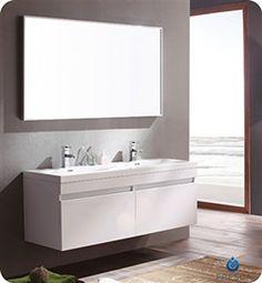 "57"" Fresca Largo (FVN8040WH) White Modern Bathroom Vanity w/ Wavy Double Sinks #Fresca #HomeRemodel #BathroomRemodel #BlondyBathHome #BathroomVanity"