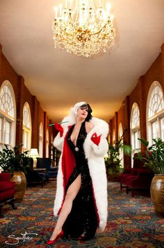 Cruella De Vil from 101 Dalmatians.OK as a kid I don't ever remember Cruella looking like that. Thank God for Cosplay