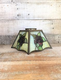 Glass Lampshade Stained Glass Lampshade Small Lamp Shade Rose Stained Glass Shade Leaded Glass Shade Floral Stained Glass Cottage Chic Decor by TheDustyOldShack on Etsy