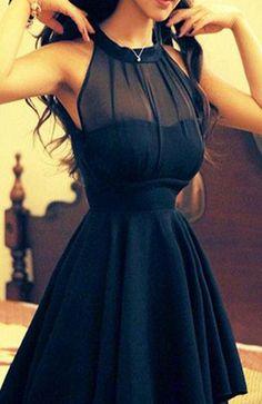 Short black homecoming dress,halter homecoming dress,chiffon homecoming dress,simple homecoming dress,see through homecoming dress,sexy dress PD210302