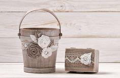 Blumenmädchen Korb Eimer und Ring Box von InesesWeddingGallery