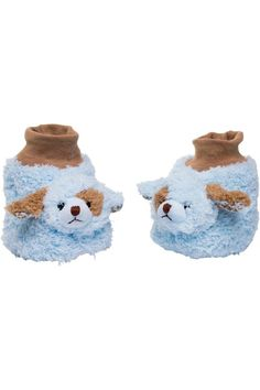 These Waggles baby booties are simply adorable. Made by Baby Bearington Collection these booties are soft and furry puppies in blue and brown. These should fit babies from age 6 - 12 months.  Waggles Baby Booties by The Bearington Collection. Home & Gifts - Gifts - Gifts by Occasion - Baby & Kids Boulder Colorado