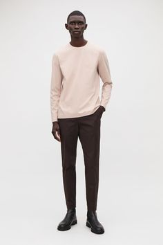 Detailed with clean bonded hems for a minimal finish, this top is made from a soft cotton jersey. A straight fit, it is completed with a classic round neck and long sleeves. Back length of size M is / Model is and wearing a size M Mens Modern Clothing, Black Men, Black Guys, Modern Man, Long Sleeve Tops, Normcore, Menswear, Mens Fashion, Sleeves