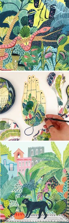 Jungle illustrations by Amber Davenport