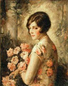 *Woman in Rose Patterned Dress...EdnaCrompton