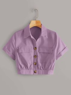 Button Through Crop Cargo Blouse Girls Fashion Clothes, Teen Fashion Outfits, Look Fashion, Korean Fashion, Fashion Styles, Crop Top Outfits, Cute Casual Outfits, Pretty Outfits, Stylish Dresses