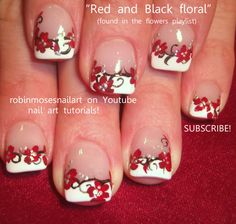 Red Nail Art | PROM NAILS robin moses red black and w…