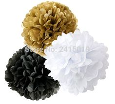 We scoured the globe for unique products in black and white...  Now available on our store: 24xNew mixed size... Check it out here! http://shadesofzebra.com/products/24xnew-mixed-sizes-gold-black-white-tissue-paper-bunting-pom-poms-wedding-party-wall-hanging-decorative-banner-garland?utm_campaign=social_autopilot&utm_source=pin&utm_medium=pin