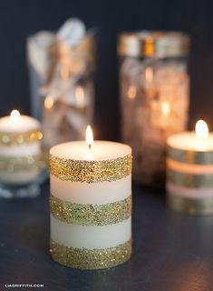 Dress Up Your Plain White Candles with Gold Leaf