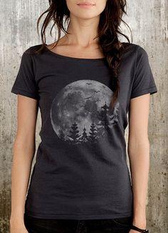 Full Moon, Pine Trees and Birds - Women's Organic Cotton Scoop Neck T-Shirt - Black