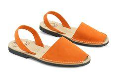 Mibo Avarcas Women's Classics Orange Leather Slingback Sandals