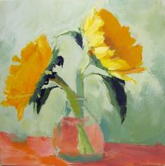 painting still life with acrylics | sunflowers still life painting acrylic by LeahJesseArts on Etsy