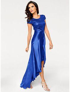 Royalblaues Paillettenkleid aus glänzendem Satin