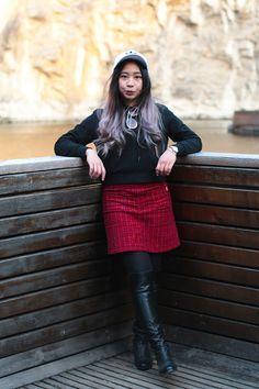 Pretty Plaid Black Winter Sporty Outfit