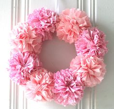 Pom Pom Wreath Baby Shower Decorations Home by ThreadingMarigolds2, $38.00