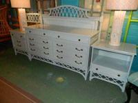 ITEM 37 Custom painted 5 piece #FicksReed #FauxBamboo Queen Bedroom set