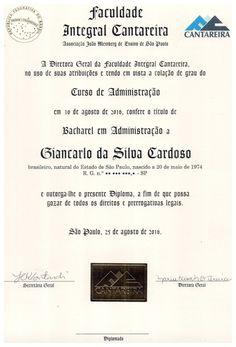 Meu Diploma de Bacharel em Administração de Empresas.