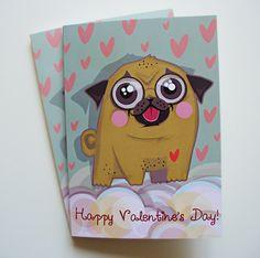 Pug Card, Pug Happy Valentine's Day Card, Funny Animal Dog Handdrawn…