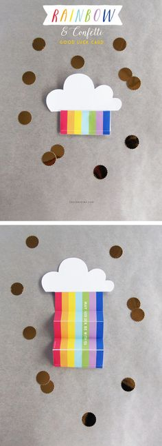 Rainbow and Confetti Good Luck Card (Design is Yay) Confetti - good luck cards to print