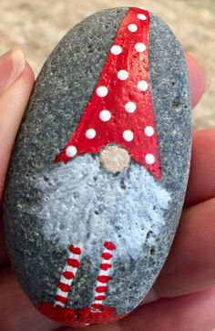 Tomte painted rock