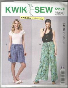 Kwik Sew 4178 new and uncut size X small X large learn Wrap Pants, Kwik Sew, Sewing Studio, Wrap Around, Learn To Sew, Vintage Sewing Patterns, Parachute Pants, Harem Pants, Shorts