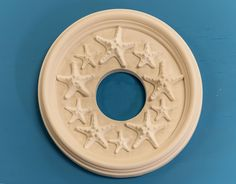 Our small Starfish medallion has a diameter of and has a center opening of Craftsman Ceiling Medallions, Coastal Living, Coastal Decor, Decorative Plaster, Hand Built Pottery, White Clay, Wall Decor, Ceramics, Starfish
