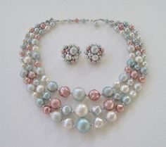 Vintage 60s Retro Kitsch Japan Demi Parure Multi Three Strand Necklace Cluster Earrings Pastel Pink Blue Faux Pearl Set by ThePaisleyUnicorn, $24.00