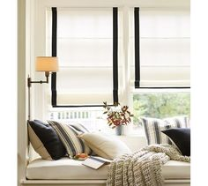 Grosgrain Ribbon Cordless Roman Shade   Pottery Barn - really want these for the kitchen, why are roman blinds so expensive!?!