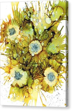 Alcohol Inks Canvas Print - Exploding Sun Flowers by Christine Crawford