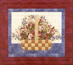 flower basket. From Quick Watercolor Quilts  handle this way is easier than the other perspective where you see both sides