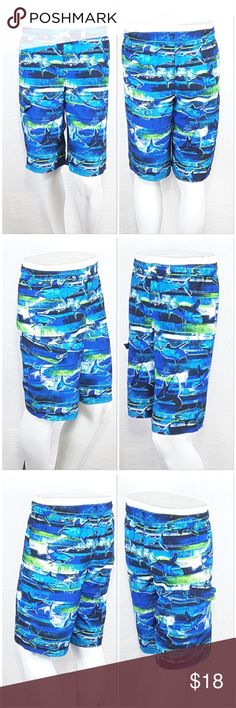"""*BOYS* OCEAN PACIFIC,  Swim Trunks, size XXL *BOYS* OCEAN PACIFIC, Shark Motif Swim Trunks, size XXL / 2X / 18 See Measurements, checked box XXL below, Velcro flap right thigh pocket, faux fly, elastic back waistband, front center inside drawstring, light-weight silky soft material, machine washable, 100% polyester, approximate measurements: 10.5"""" inseam.  SAVE BIG! ADD TO A BUNDLE! 30%  AUTOMATICALLY DISCOUNTED ON ALL BUNDLES! Ocean Pacific Swim"""