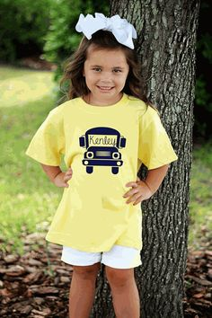 PERSONALIZED FULL FRONT BACK TO SCHOOL SCHOOL BUS SILHOUETTE SHORT SLEEVE SHIRT…