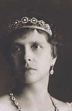 Princess Andrew of Greece (Princess Alice of Battenberg), mother of the Duke of Edinburgh, wearing the Battenberg Button tiara (possibly) worn once by Sophie, Countess of Wessex.
