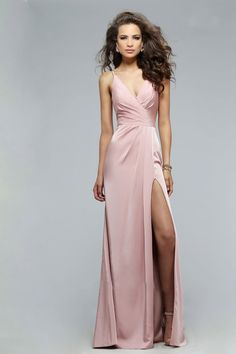 1021fac791cb Buy the Classy Satin Dress with Plunging Neckline and High Side Slit 7755E  by Faviana at