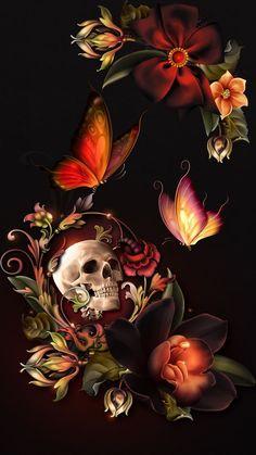 Skull Wallpaper Iphone, Butterfly Wallpaper, Sugar Skull Wallpaper, Hd Wallpaper, Dark Fantasy Art, Fantasy Artwork, Princesas Disney Zombie, Sugar Skull Artwork, Sugar Skulls