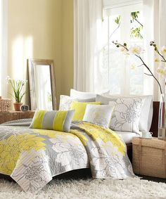 Take a look at this Yellow & Gray Elizabeth Coverlet Set by JLA Home on #zulily today!