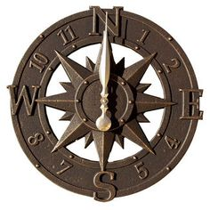 16-Inch Compass Rose Outdoor Wall Clock