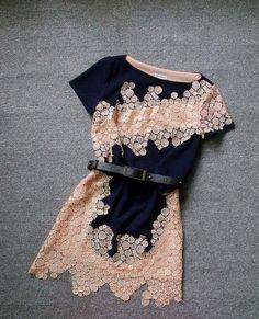 Handmade Embroidered Flower Irregular Dress