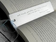 Personalized Bookmark - hand stamped with phrase or quote of your choice by TheHandStampedHeart on Etsy https://www.etsy.com/listing/190016766/personalized-bookmark-hand-stamped-with