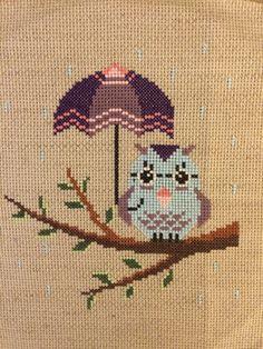 Rainy Day Owl. Cross Stitch...