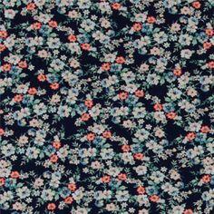 Viscose-Jersey, Navy mit pinken Blumen