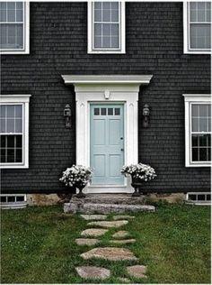 House colors - love the blue door here with the white trim against the dark house Exterior Paint Colors, Exterior House Colors, Paint Colors For Home, Exterior Design, Paint Colours, Siding Colors, Teal Door, Turquoise Door, Mint Door