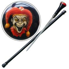 This is the Deranged Evil Clown Walking Acrylic Cane Sword. The handle is constructed with a clear acrylic coating allowing you to see the poly resin deranged evil Clown that looms inside the top. #derangedevilclownwalkingacryliccanesword
