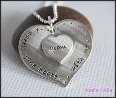 Two Hearts as One Hand Stamped Necklace. $62.00, via Etsy.
