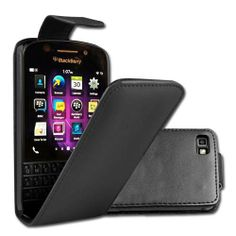 BlackBerry Q10 Leather Style Flip Case – Black